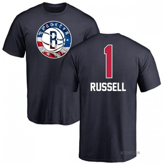 Men's D'Angelo Russell Brooklyn Nets Navy Name and Number Banner Wave T-Shirt
